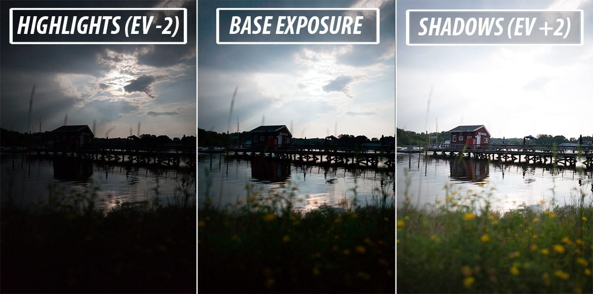 Three brackets used to blend exposures in Photoshop