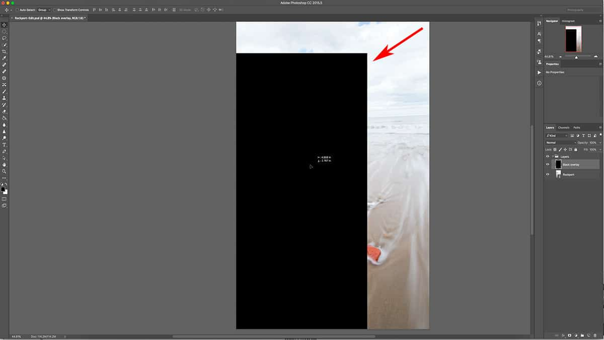 Moving a layer in Photoshop.