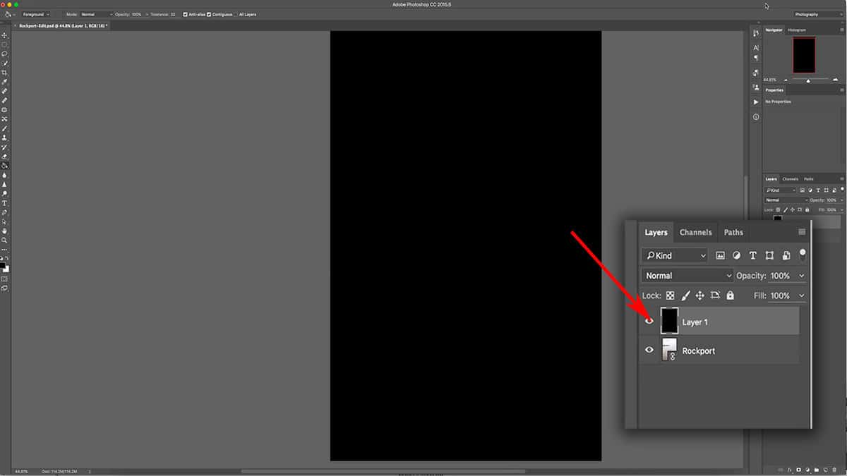 Filling your top layer will hide all layers underneath in Photoshop.