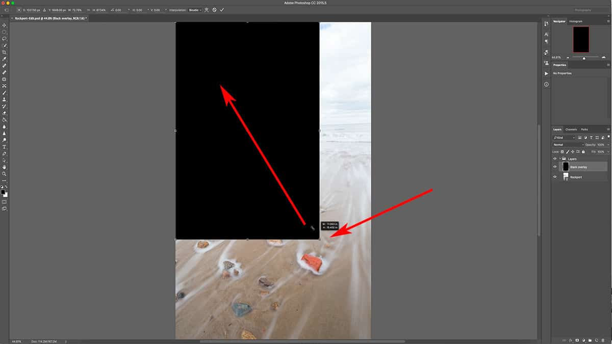 Transforming a layer in Photoshop