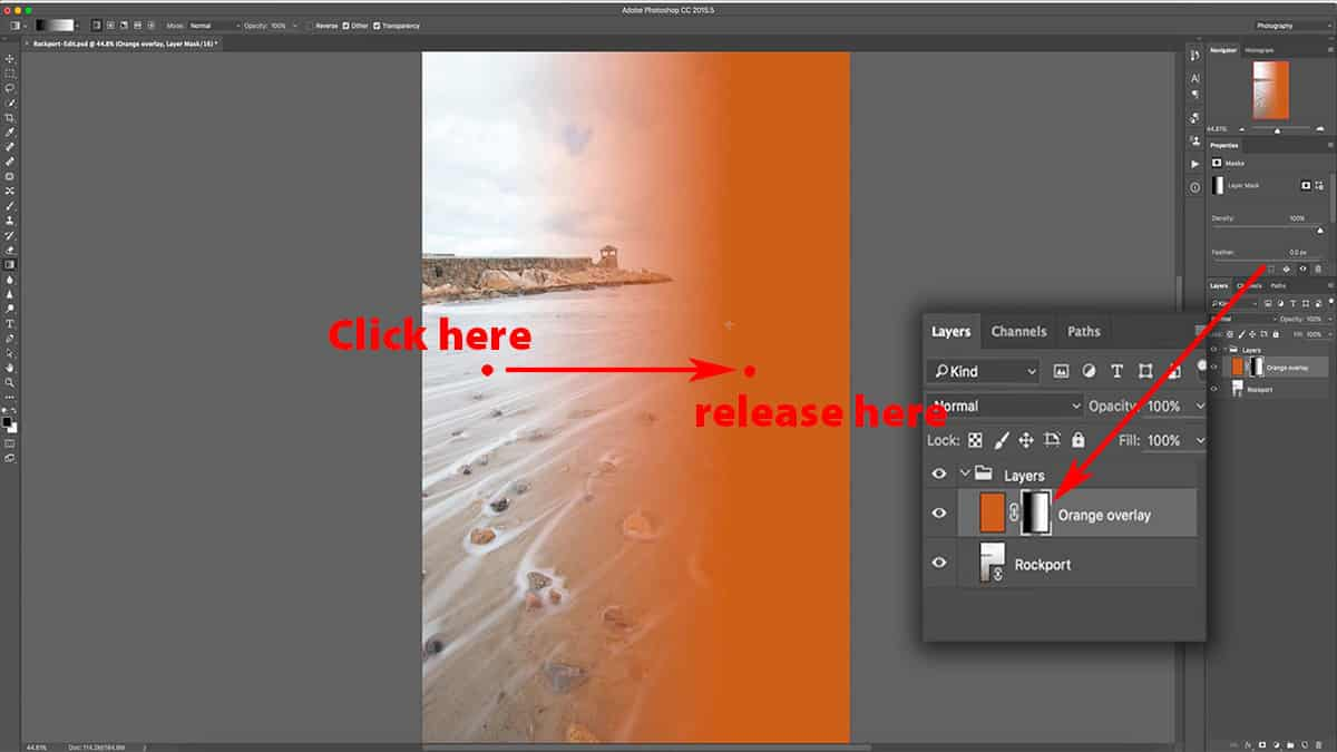 Adding a gradient to a layer mask