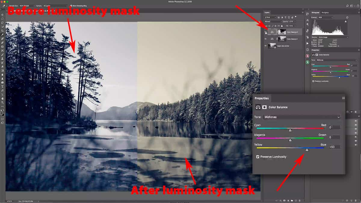Before and after a luminosity mask in Photoshop