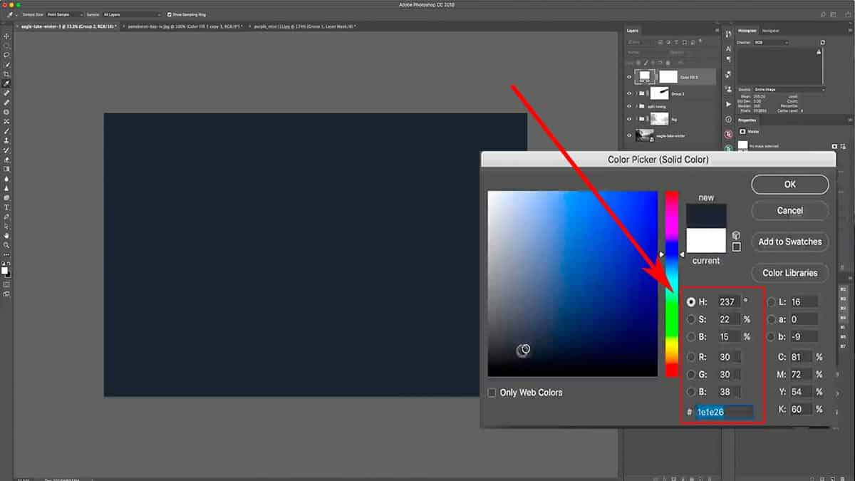 Selecting a dark blue color fill for burning in Photoshop.