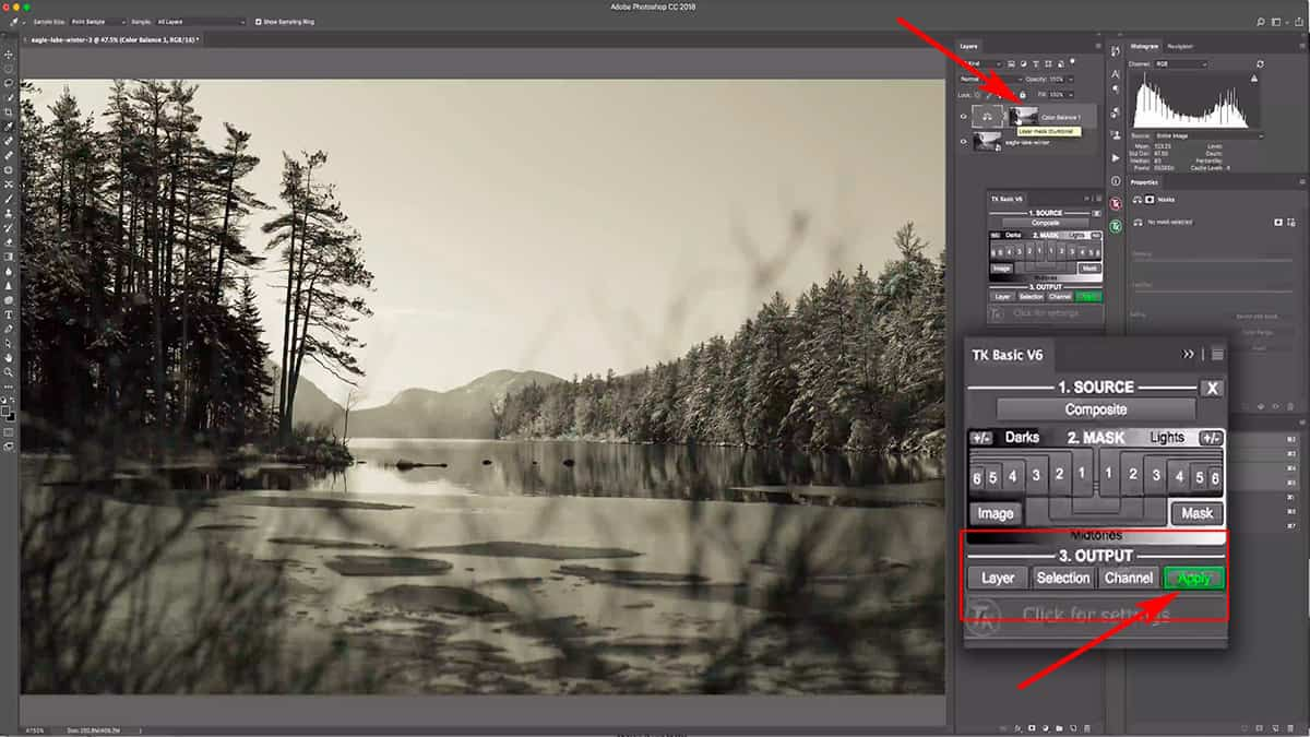 Creating a luminosity mask by outputting it to a layer