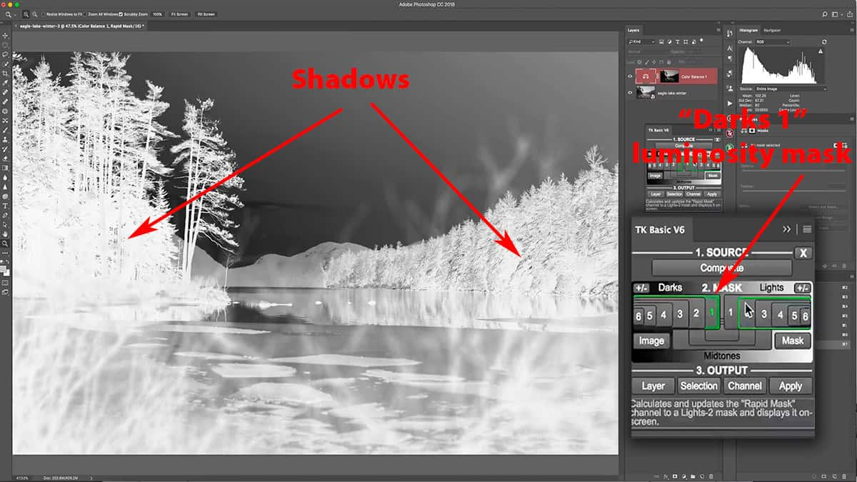 Darks 1 luminosity mask for selecting the shadows.