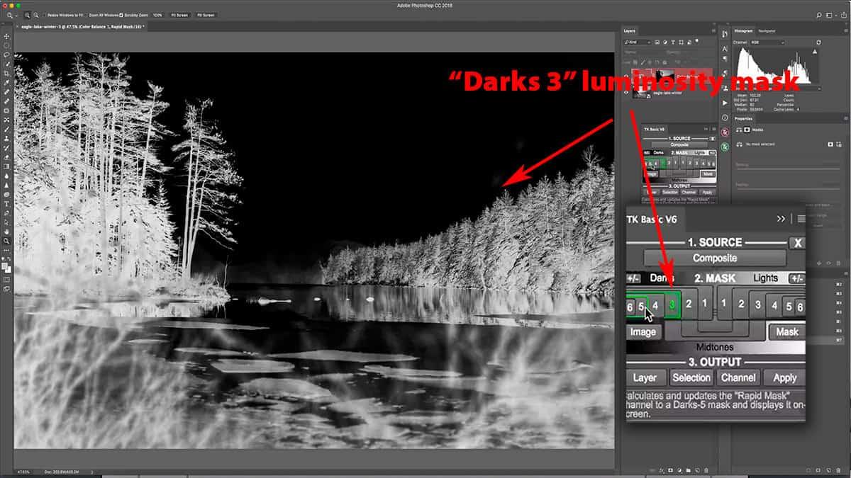 A Darks 3 luminosity mask selects the darker shadows