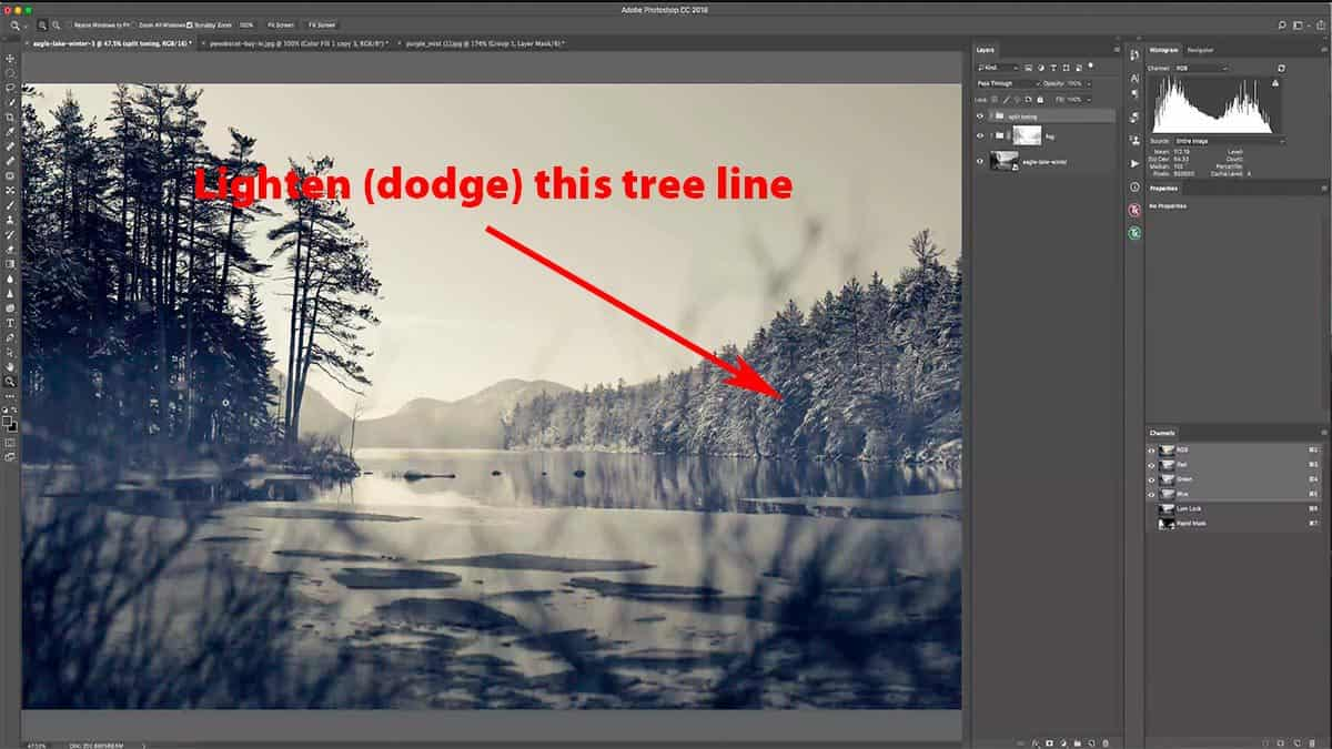 Dodging highlights in Photoshop