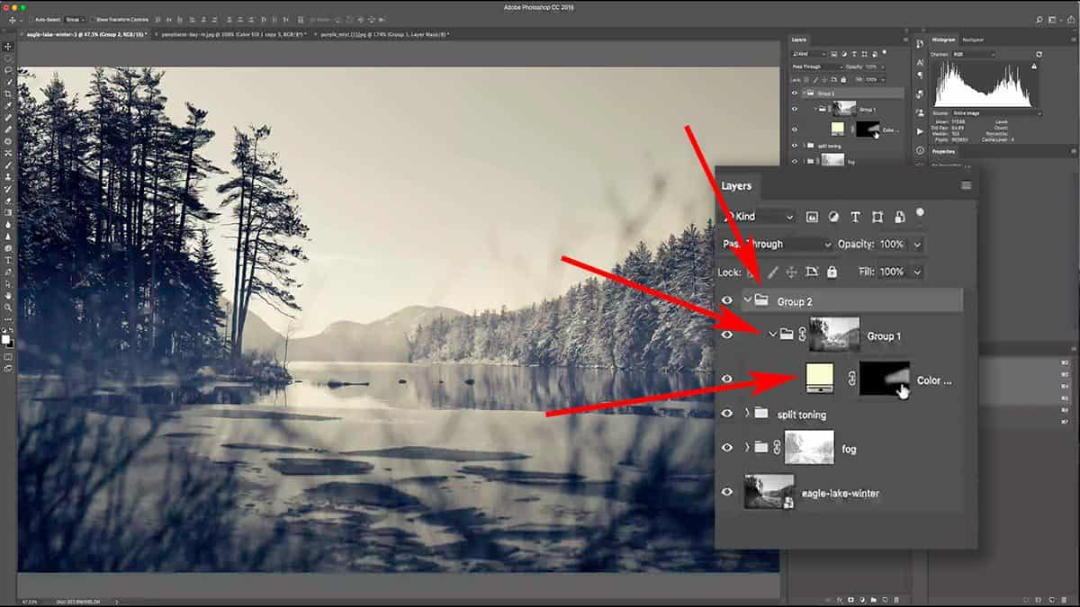 Adding a group within a group and a luminosity mask.