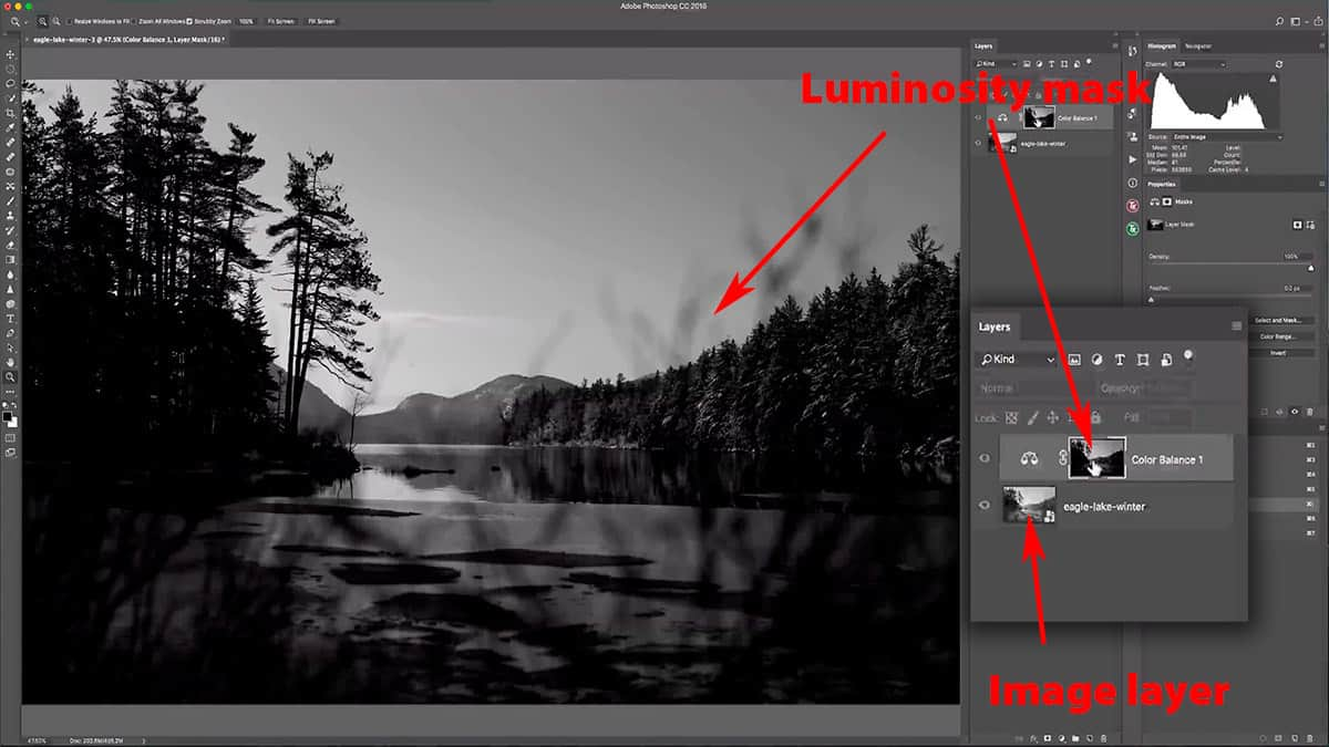 Showing how a luminosity mask works in Photoshop