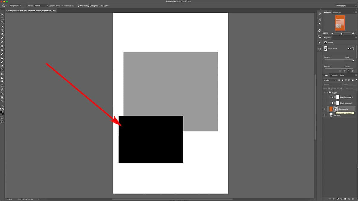 Viewing a black layer mask in Photoshop