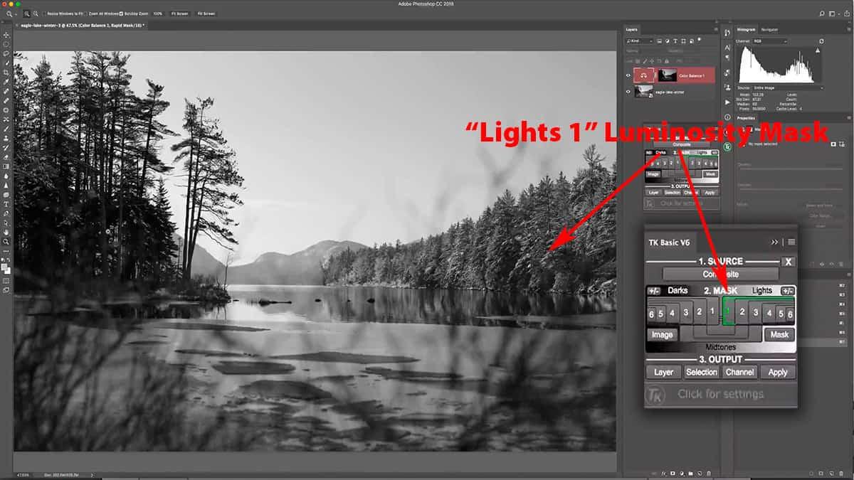 Lights 1 luminosity mask in Photoshop
