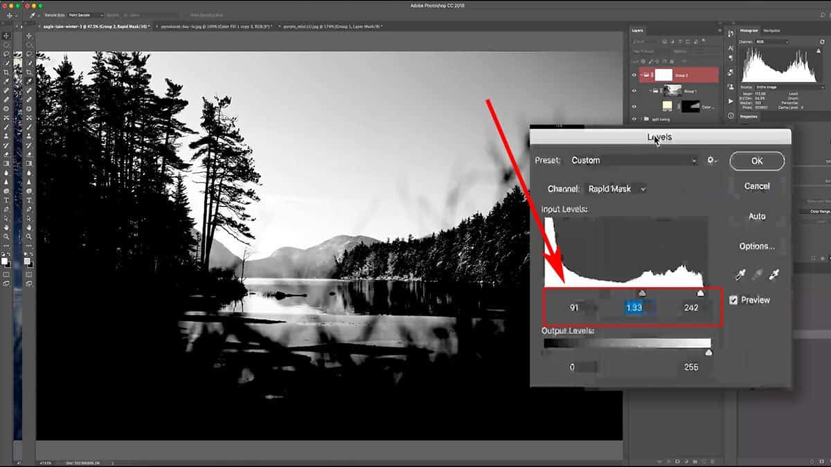 Refining a luminosity mask with a levels adjustment