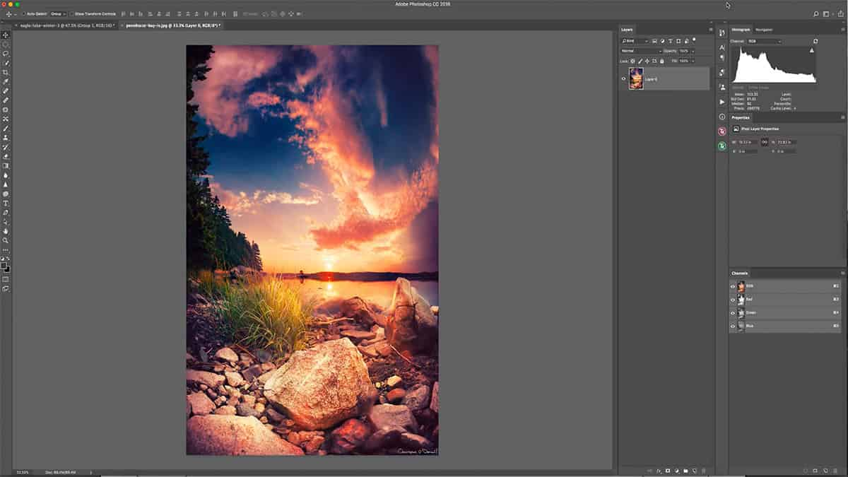 Adding a sun glow with a luminosity mask in Photoshop