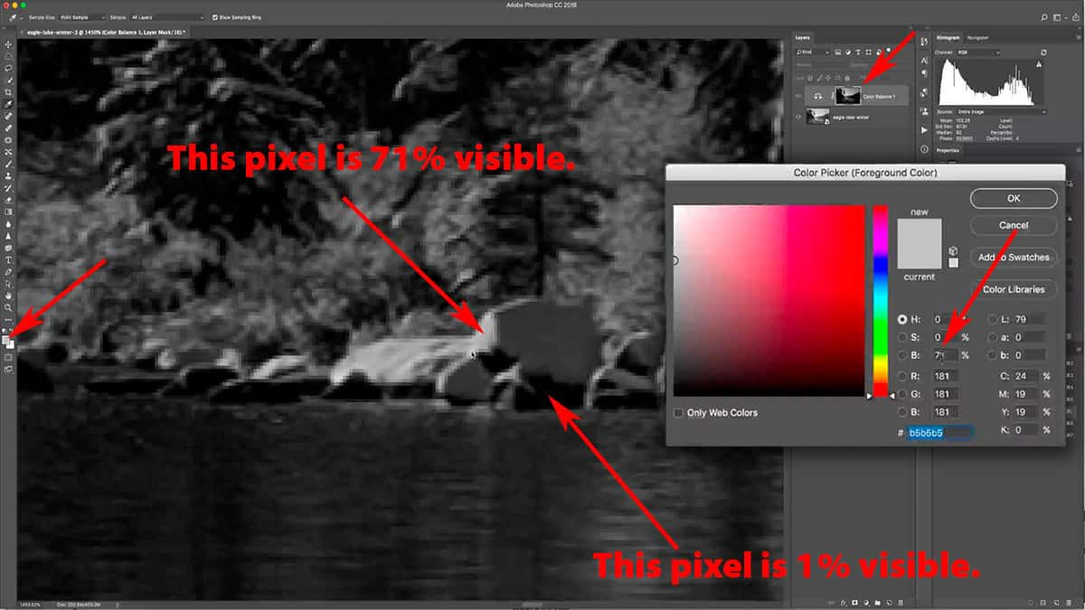 The self-feathering effect of a luminosity mask in Photoshop