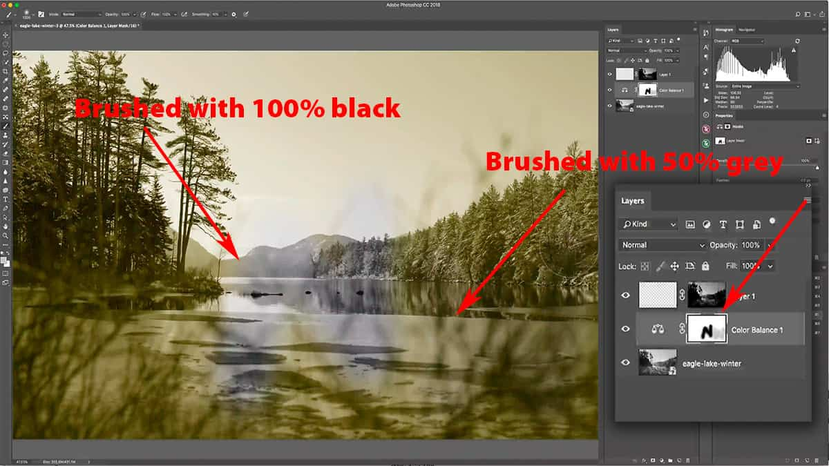 Masking a warming effect with black and grey.