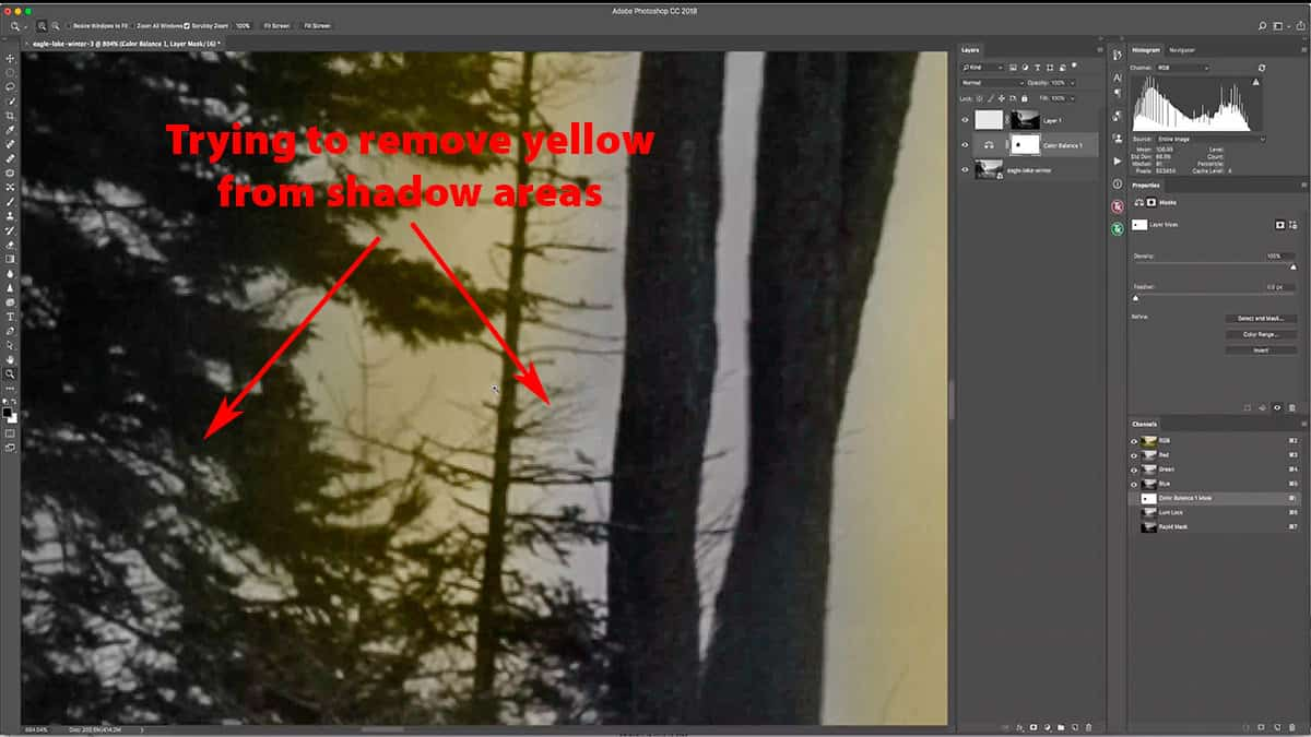 Removing a warming adjustment layer from shadows with the brush tool