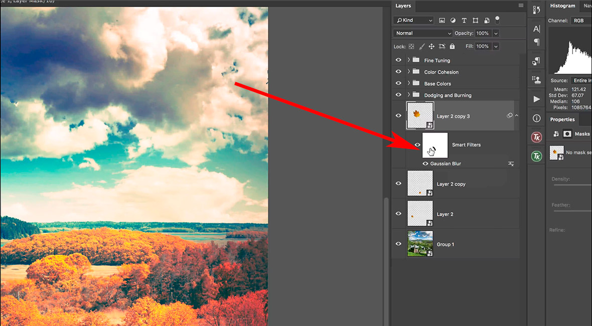 Using a smart filter with smart objects in Photoshop