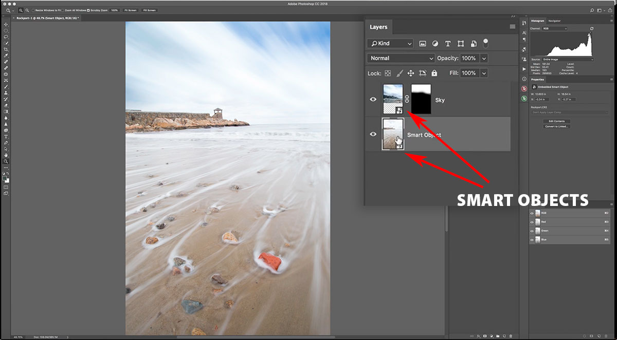 Smart object layers in Photoshop