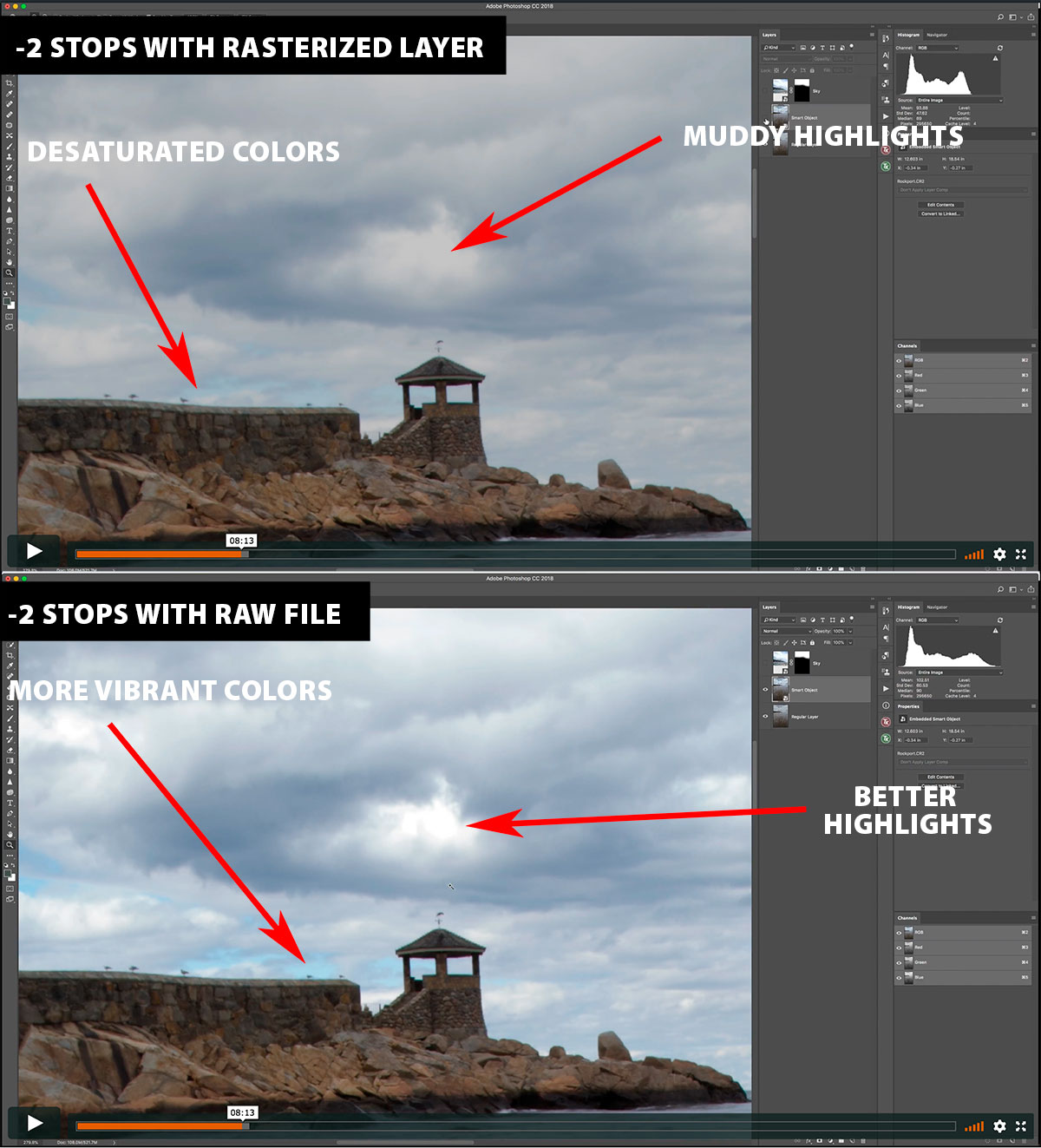 Comparing the quality difference between a smart object that is connected to a raw file, and a rasterized layer in Photoshop.