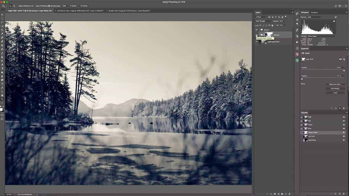 Adding fog with an inverted luminosity mask