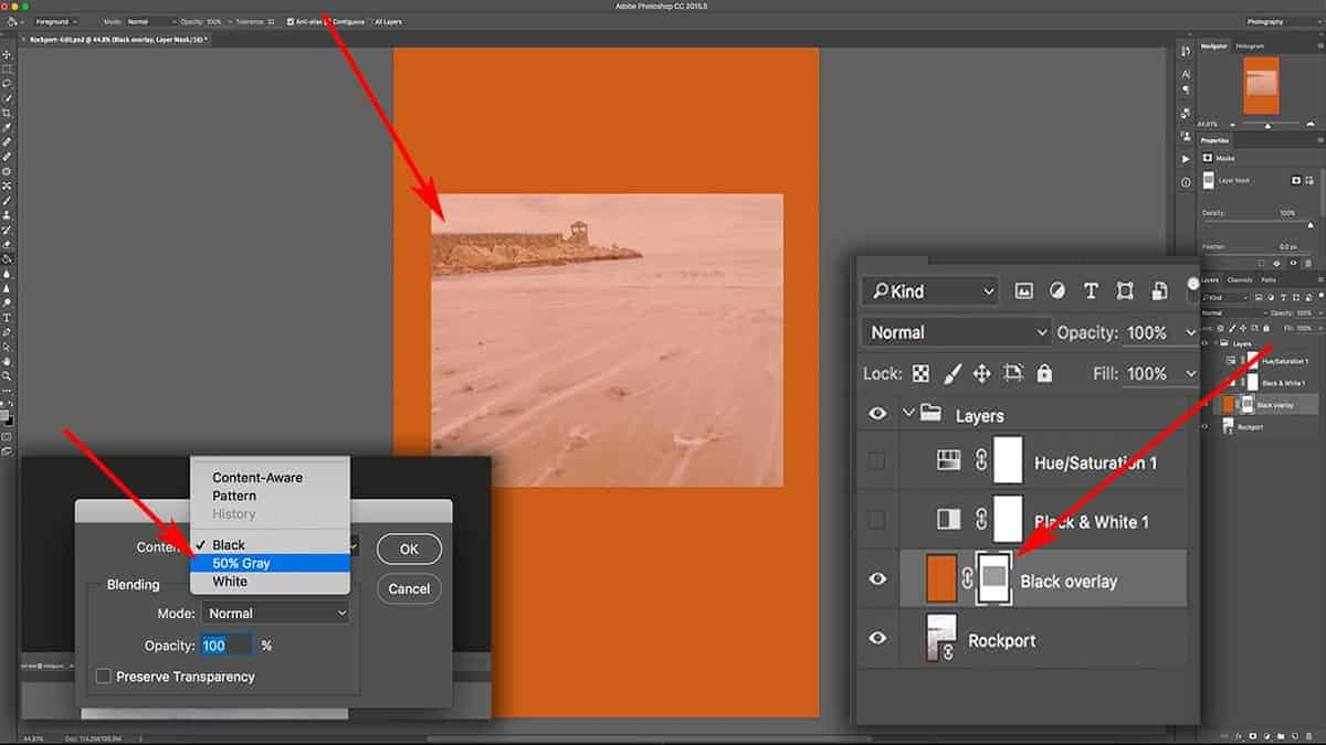 Adding grey to a layer mask in Photoshop
