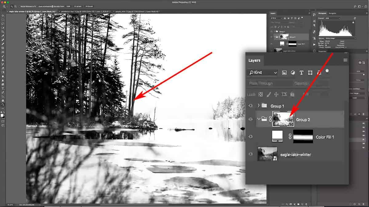 Altering a luminosity mask with the brightness/contrast sliders in Photoshop
