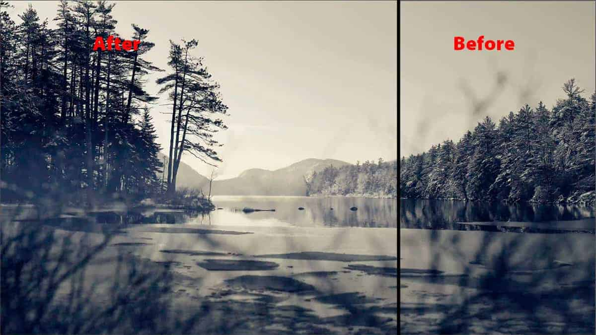 Before and after of adding fog to a landscape image in Photoshop