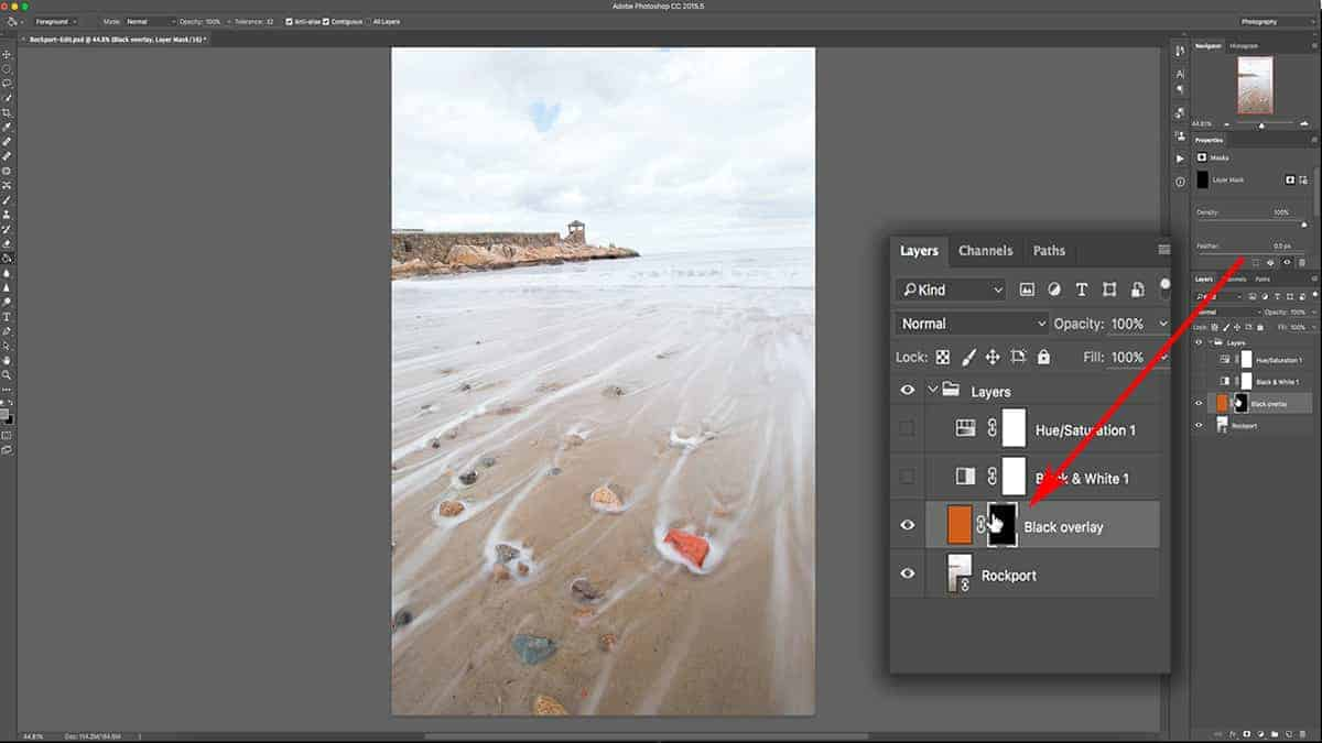 Adding black to a layer mask in Photoshop
