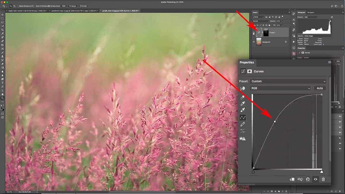 Brightening the highlights with a curves adjustment layer