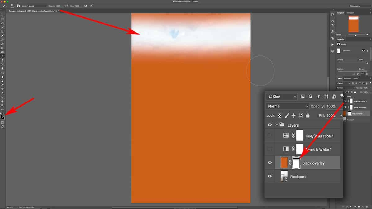 Using the brush tool with a layer mask