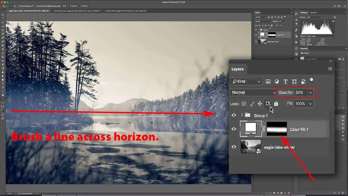 Add in the fog using the brush tool