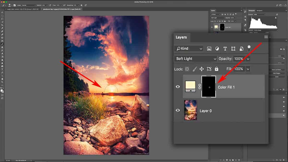 Adding a solid color fill layer for a sun glow in Photoshop