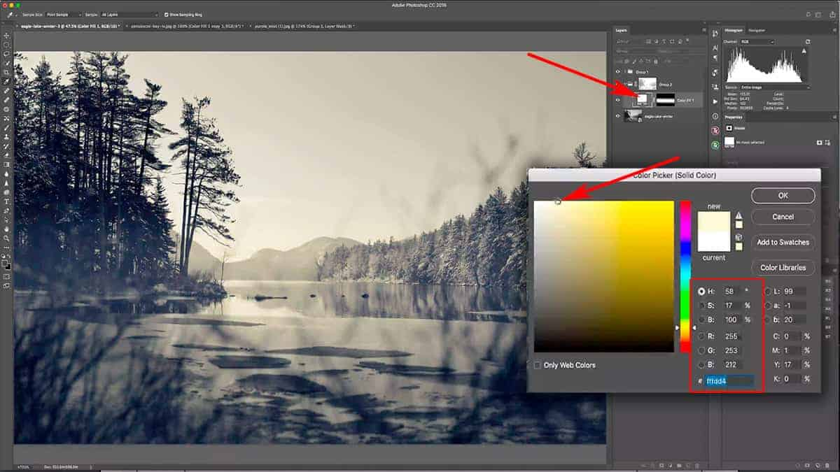 Changing the color of a solid color fill layer