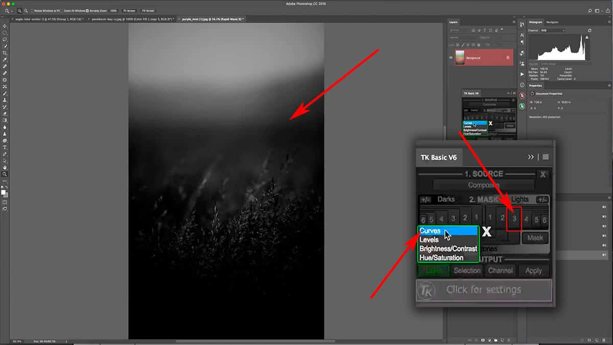 Create a curves adjustment layer with a luminosity mask