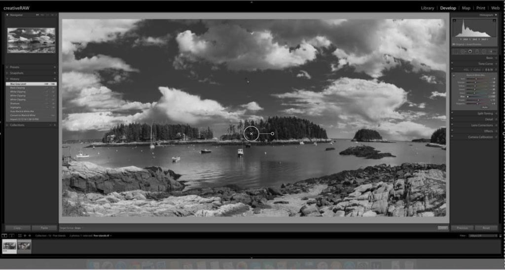 Enhance the sky with the Black & White Mixer - CreativeRAW