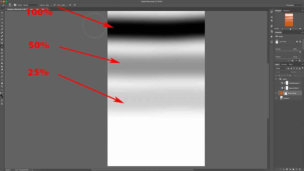 Grey brush into a layer mask in Photoshop