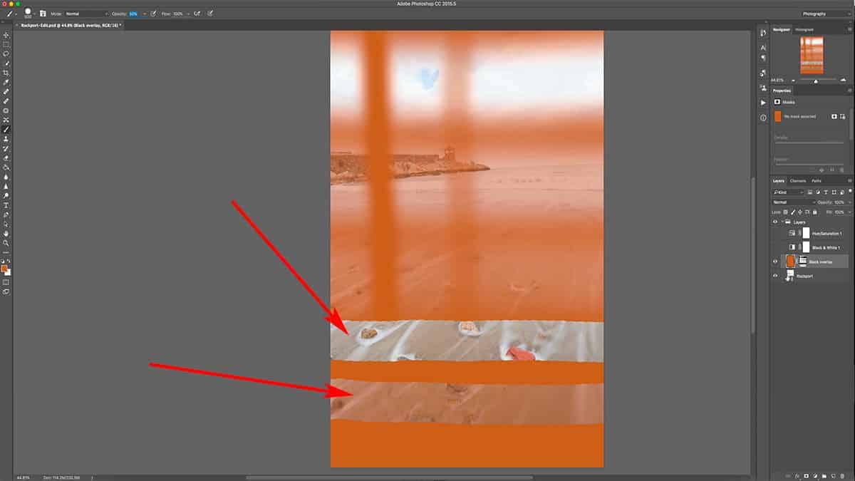 A very harsh transition with the brush tool in Photoshop