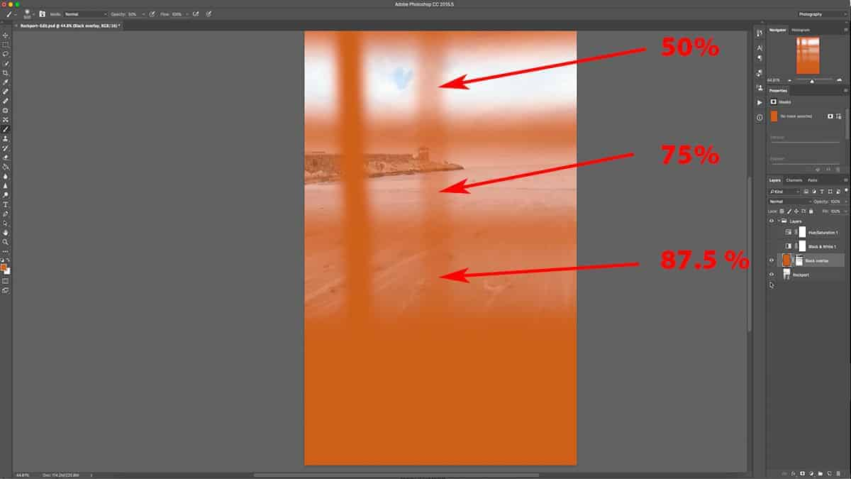 How different brush opacity levels look on a layer mask