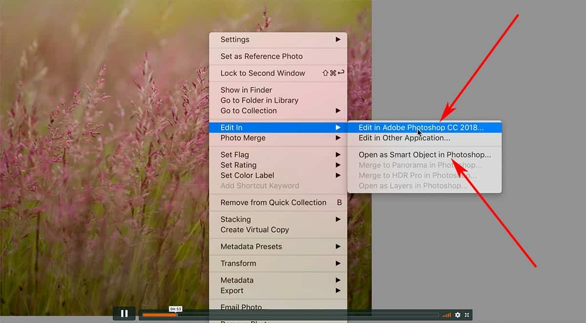 Open as a smart object in Photoshop from Lightroom