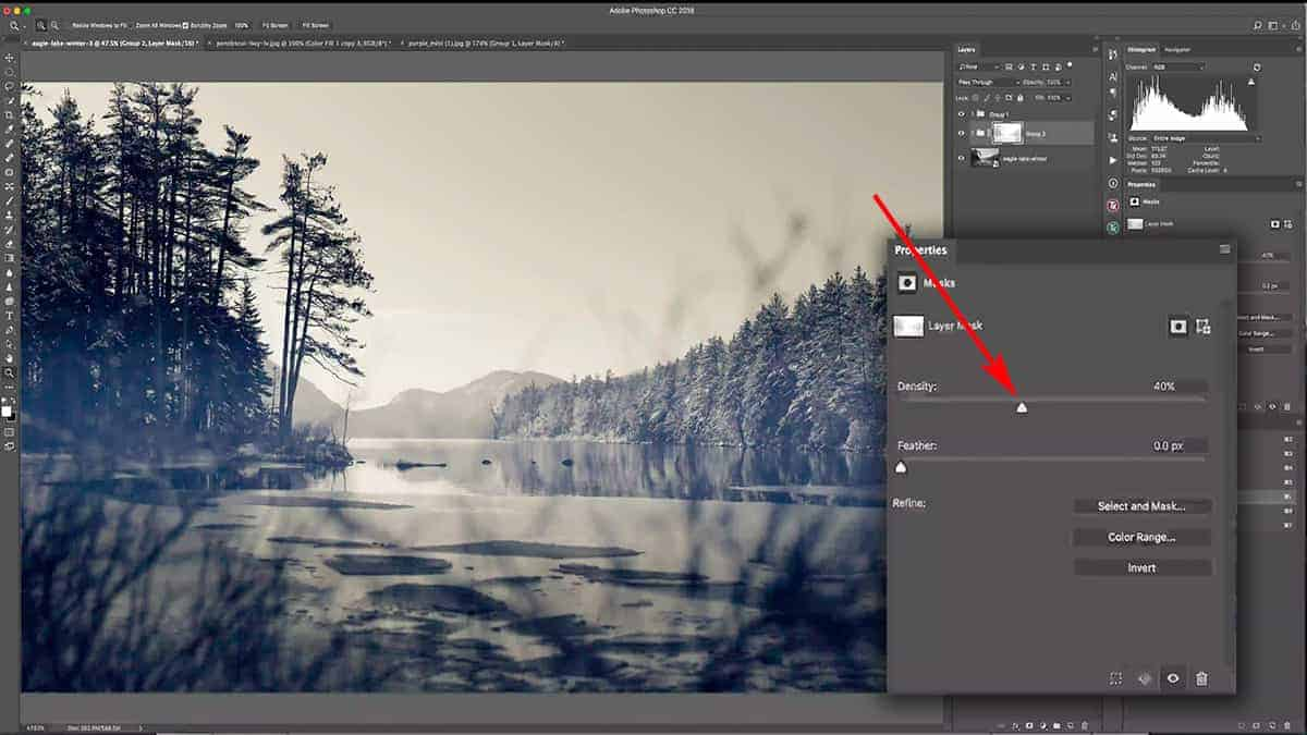 Changing the opacity of a luminosity mask with the density slider