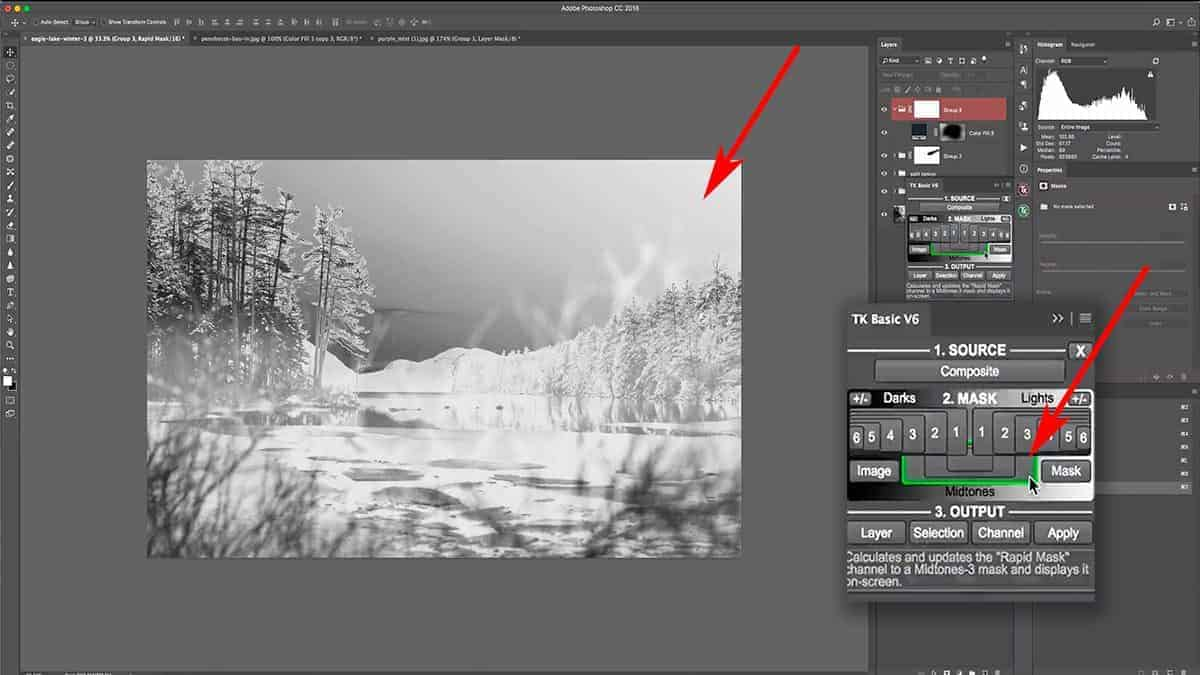 Adding a midtone luminosity mask to control burning in Photoshop.