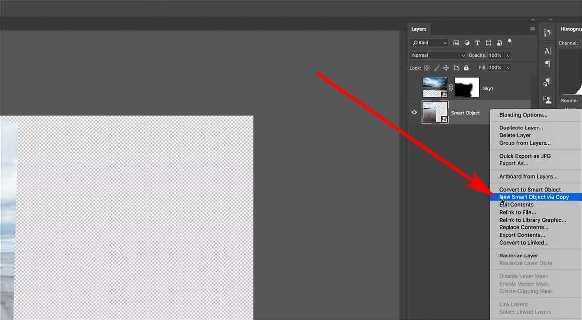 New smart object via copy in Photoshop