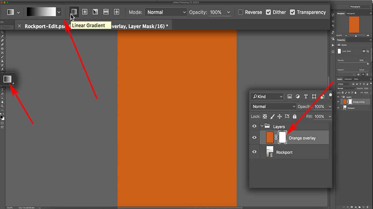 Options for the gradient tool in Photoshop