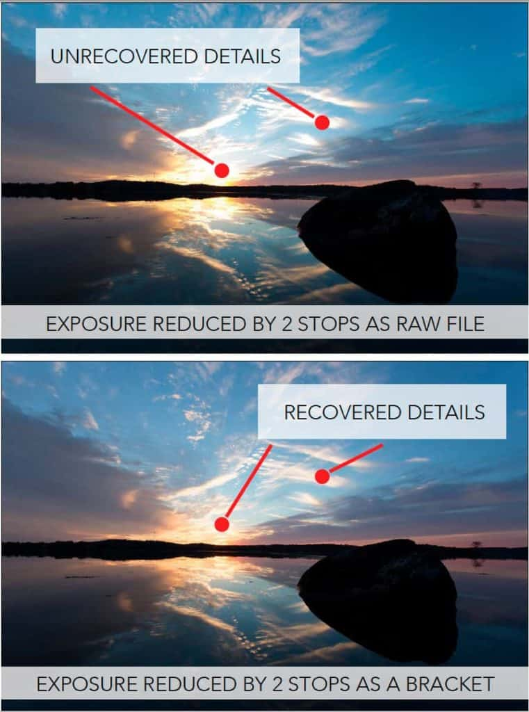 Quality difference between exposure adjustment as a raw file vs a bracket.