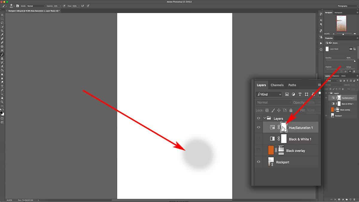 Removing a saturation adjustment layer with the brush