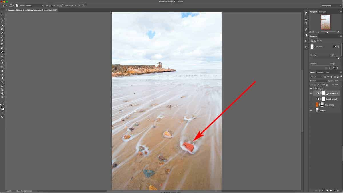 How to remove saturation with a layer mask