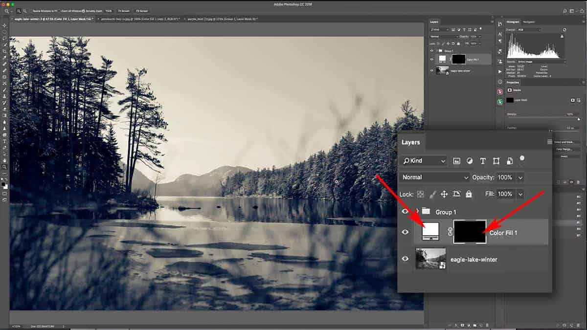 Use a solid color fill layer to add fog