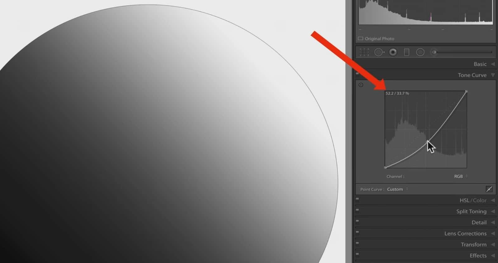 Changing Lightless in Curve - CreativeRAW